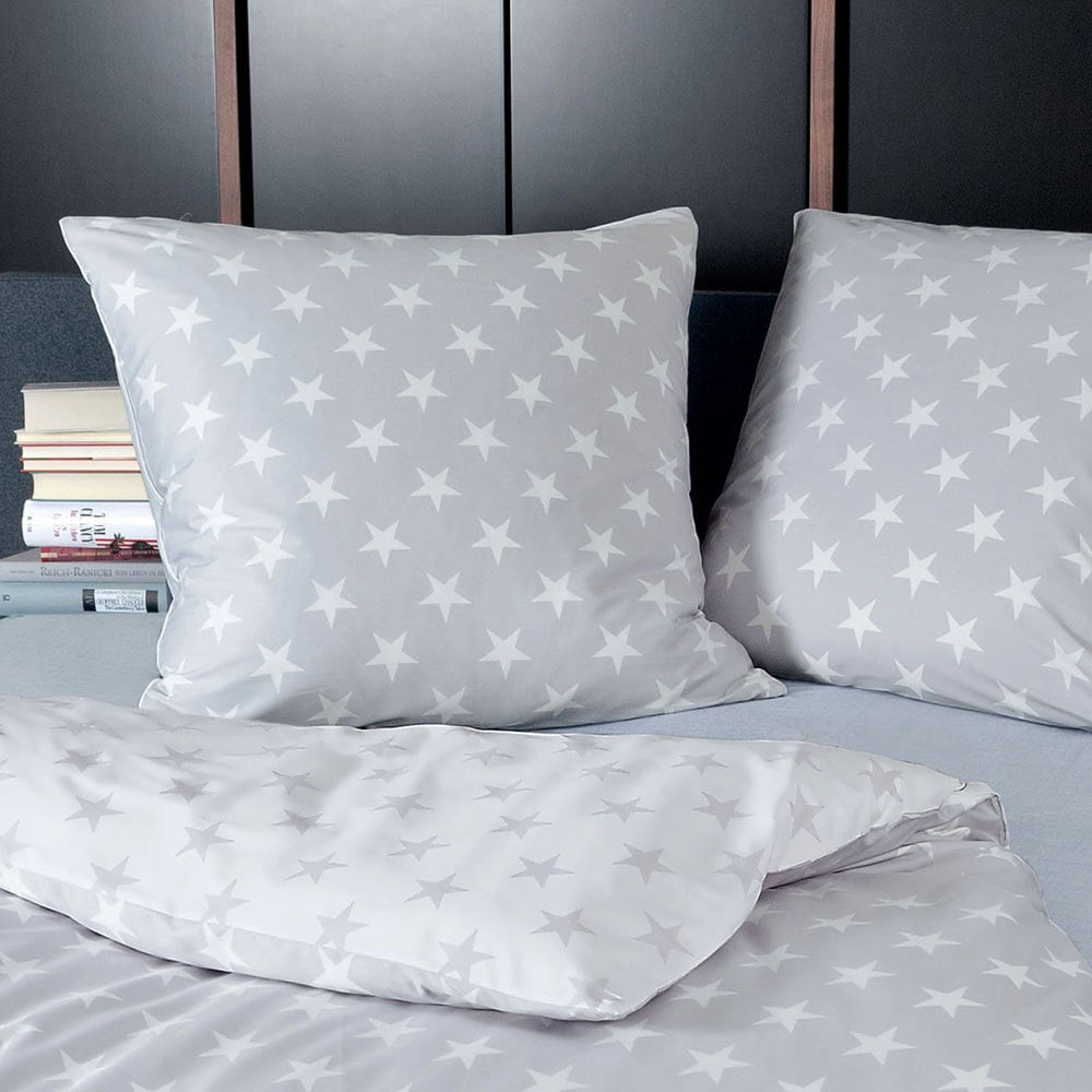 janine mako satin bettw sche j d 8460 08 sterne grau g nstig online kaufen bei bettwaren shop. Black Bedroom Furniture Sets. Home Design Ideas