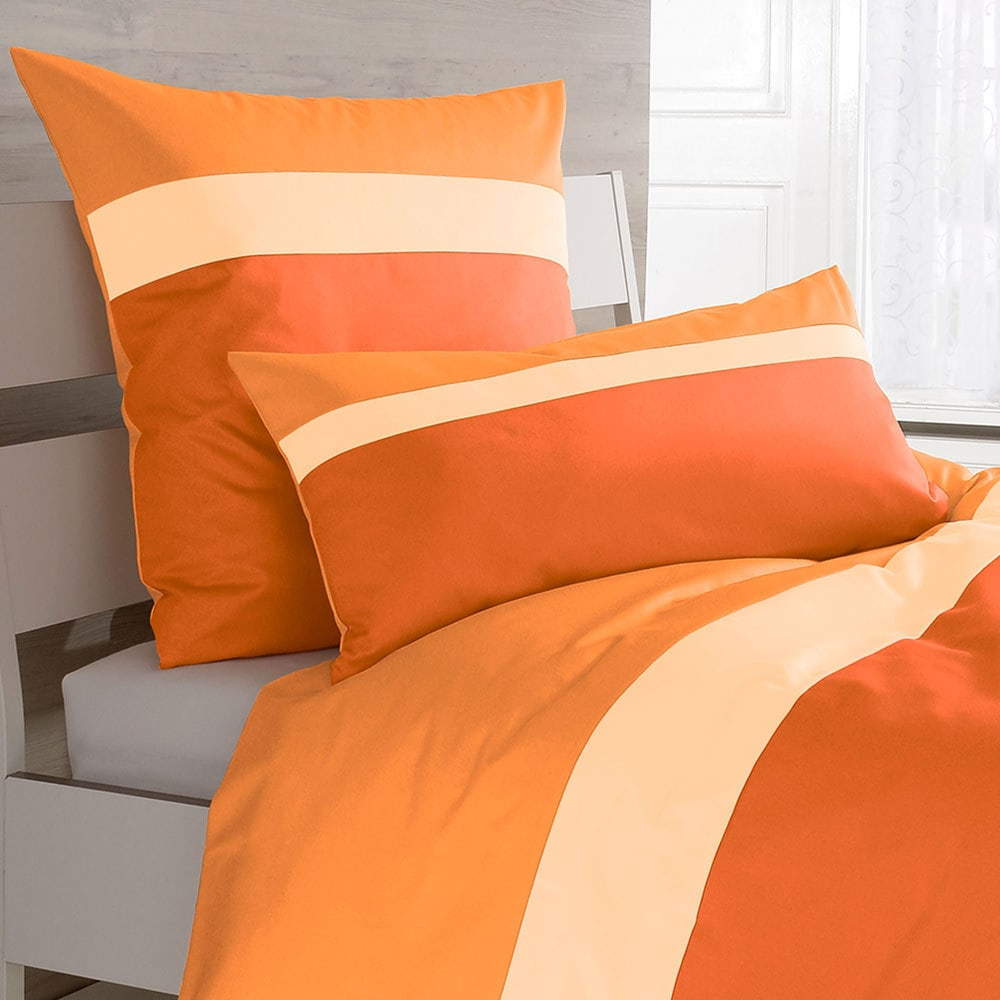 bettwarenshop mako satin bettw sche orange vanille mandarin g nstig online kaufen bei bettwaren shop. Black Bedroom Furniture Sets. Home Design Ideas