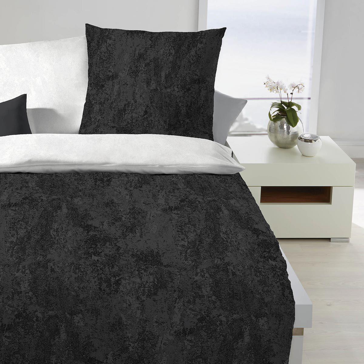 Bettwarenshop Mako Satin Bettwäsche Texture Schwarz Günstig Online