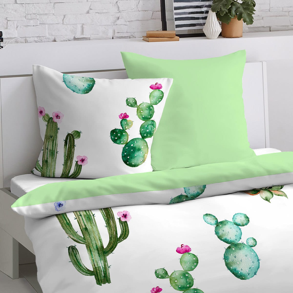 dormisette mako satin wendebettw sche kaktus g nstig. Black Bedroom Furniture Sets. Home Design Ideas