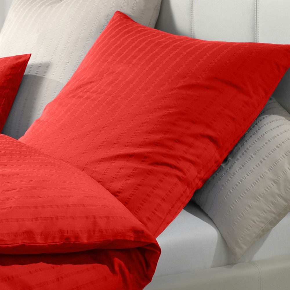 elegante mako seersucker bettw sche chelsea rot g nstig online kaufen bei bettwaren shop. Black Bedroom Furniture Sets. Home Design Ideas
