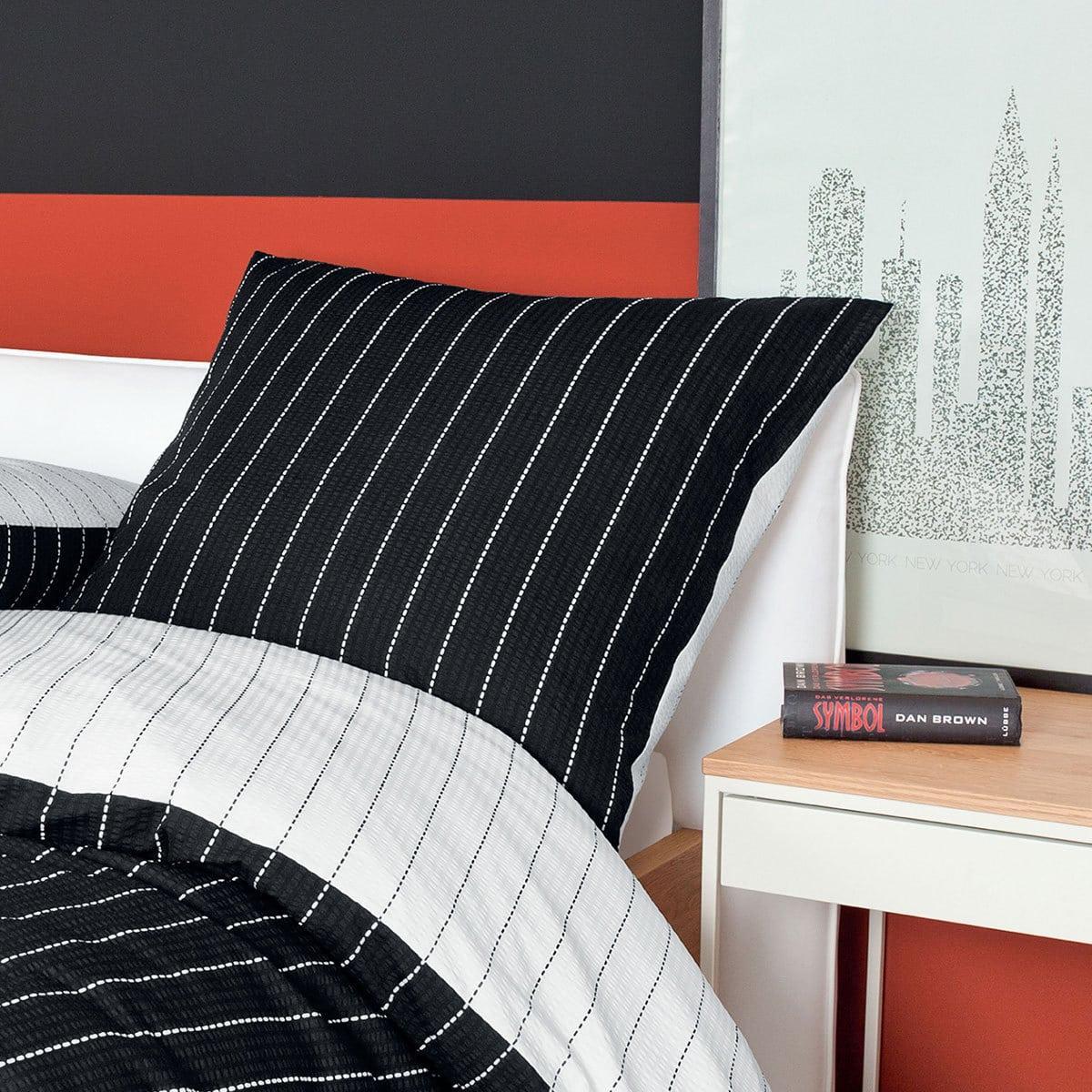 traumschlaf mako soft seersucker wendebettw sche tango schwarz g nstig online kaufen bei. Black Bedroom Furniture Sets. Home Design Ideas