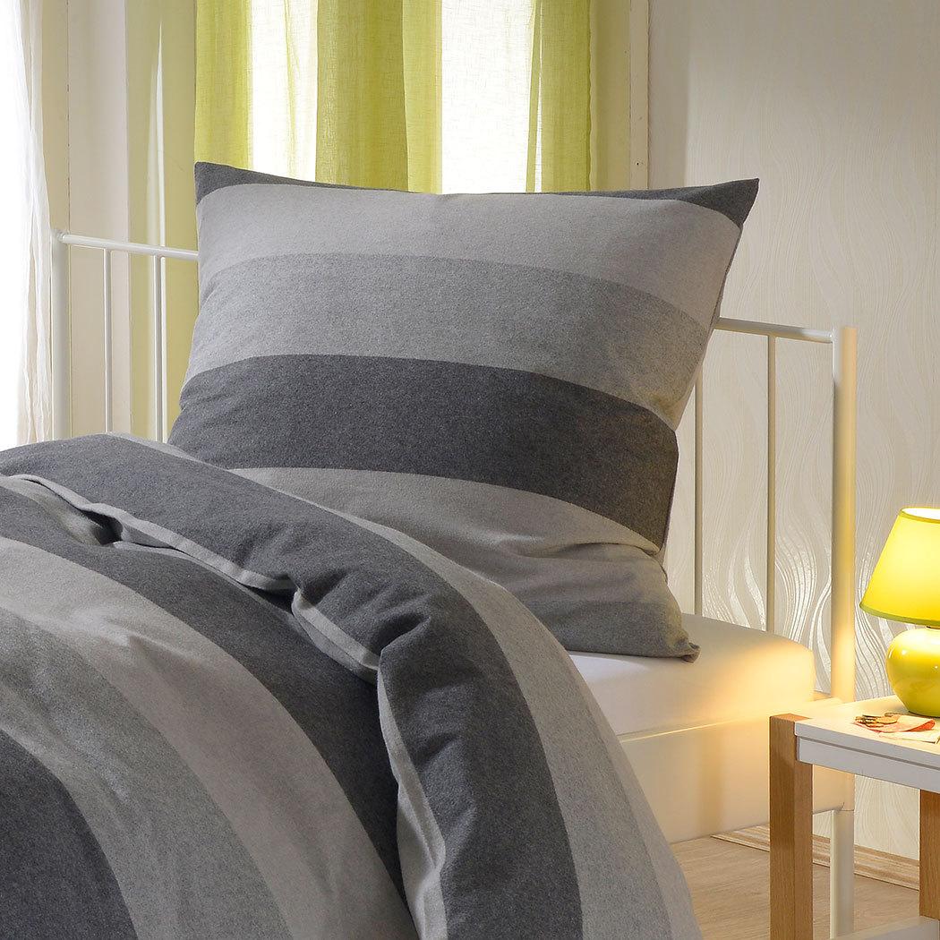 bettwarenshop melange flanell bettw sche blockstreifen grau g nstig online kaufen bei bettwaren shop. Black Bedroom Furniture Sets. Home Design Ideas