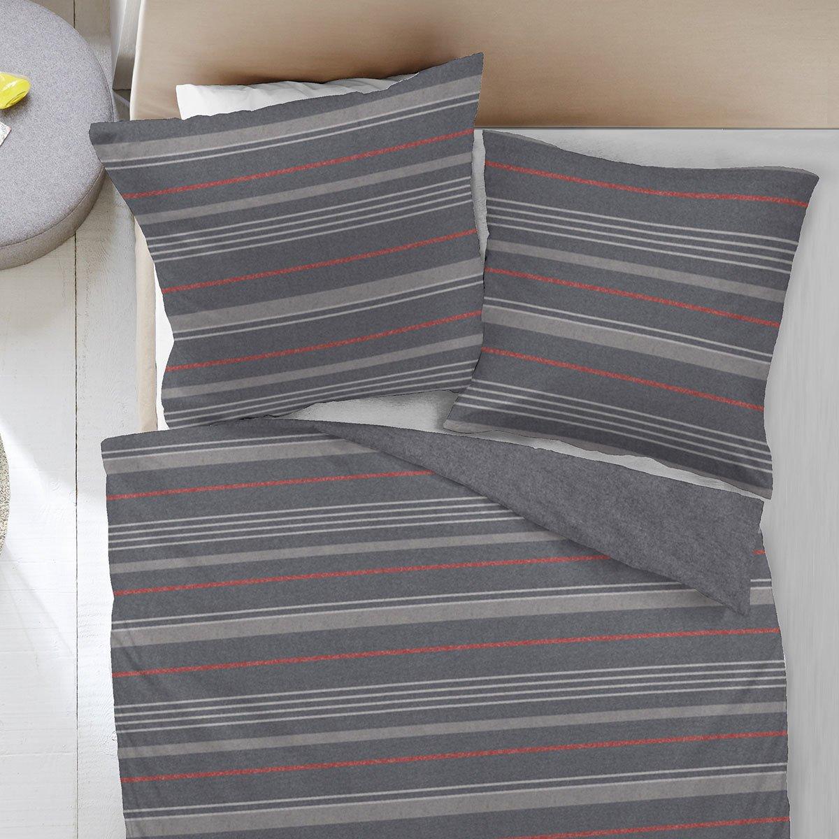 dormisette melange flanell wendebettw sche streifen g nstig online kaufen bei bettwaren shop. Black Bedroom Furniture Sets. Home Design Ideas