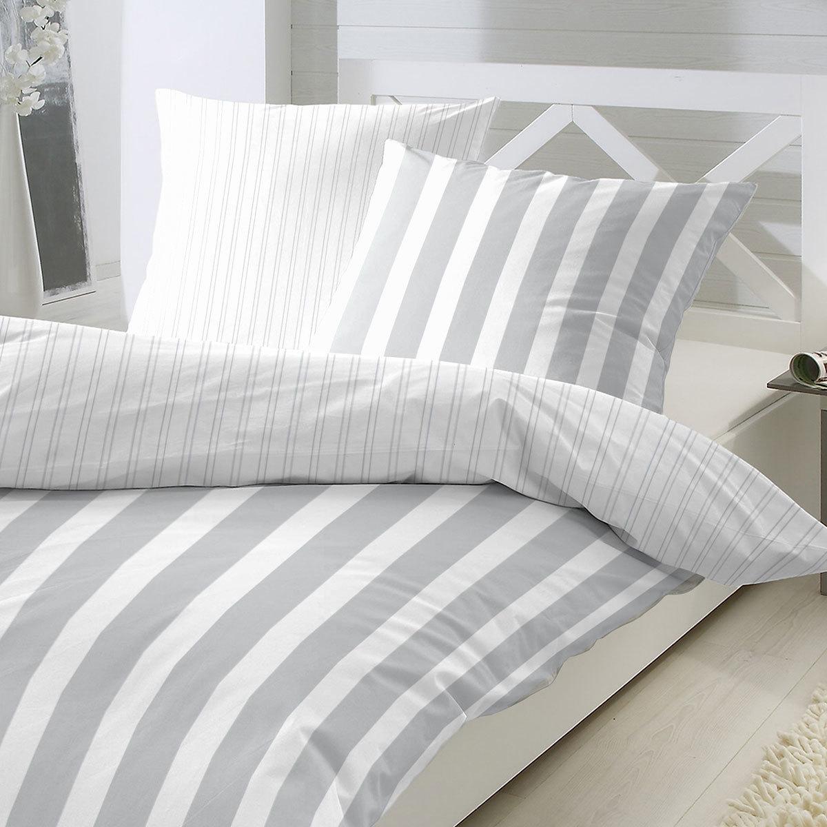enrico coss perkal bettw sche blockstreifen grau g nstig online kaufen bei bettwaren shop. Black Bedroom Furniture Sets. Home Design Ideas
