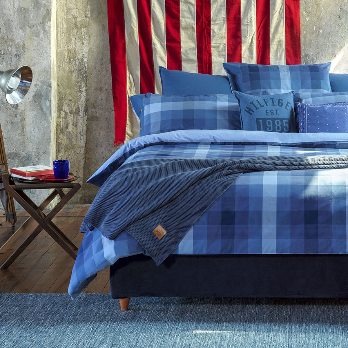 tommy hilfiger perkal bettw sche preppy look kariert denim g nstig online kaufen bei bettwaren shop. Black Bedroom Furniture Sets. Home Design Ideas