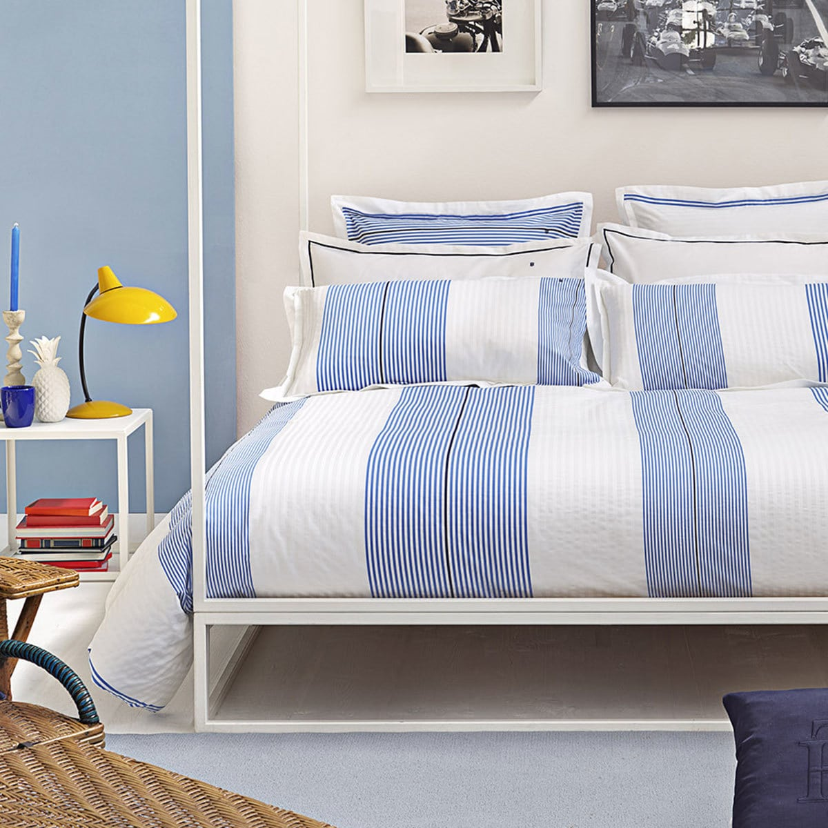 tommy hilfiger perkal bettw sche wei und blau gestreift g nstig online kaufen bei bettwaren shop. Black Bedroom Furniture Sets. Home Design Ideas