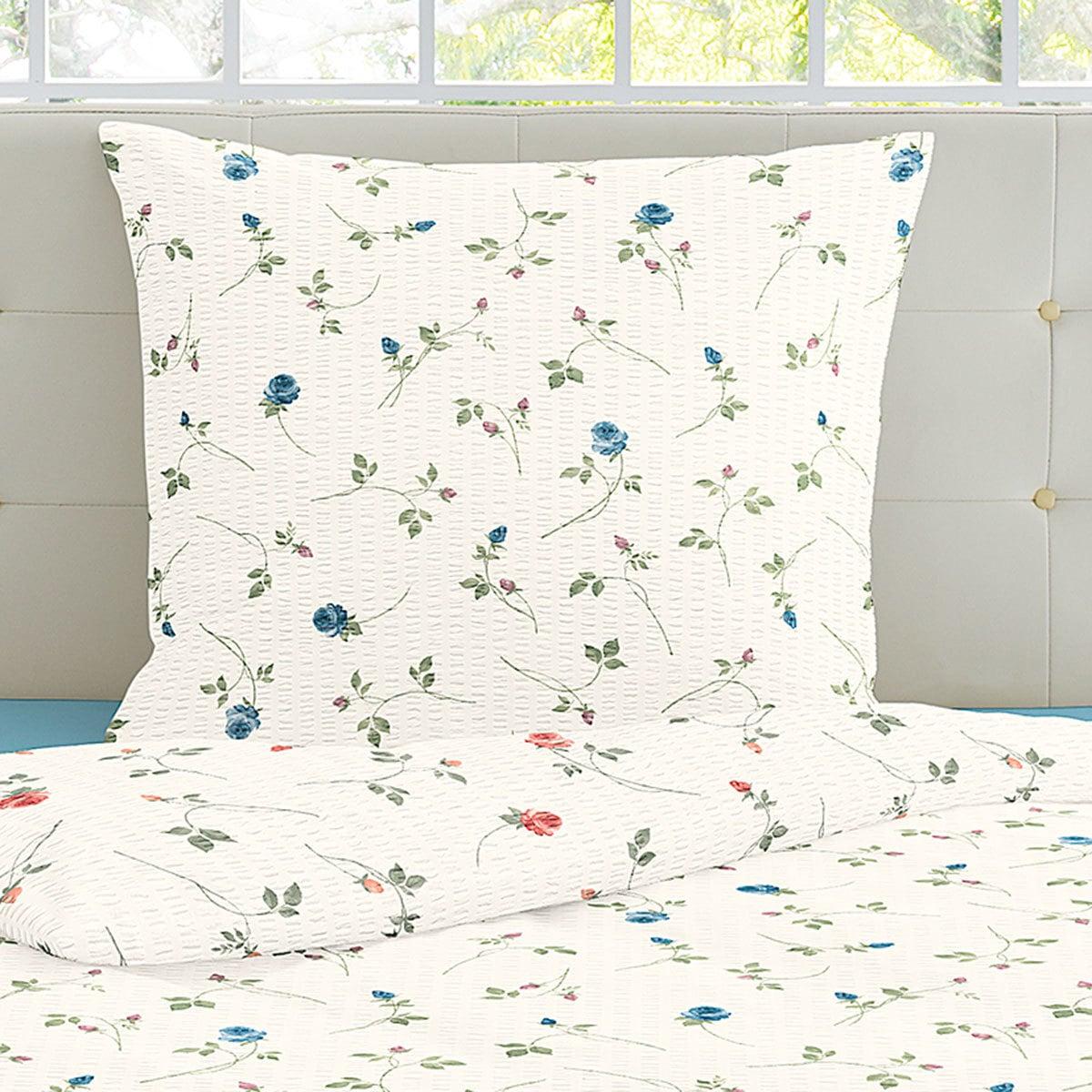irisette seersucker bettw sche flower blau g nstig online. Black Bedroom Furniture Sets. Home Design Ideas