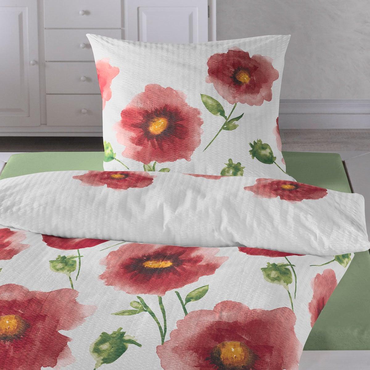 traumschlaf seersucker bettw sche mohnblume rot g nstig online kaufen bei bettwaren shop. Black Bedroom Furniture Sets. Home Design Ideas