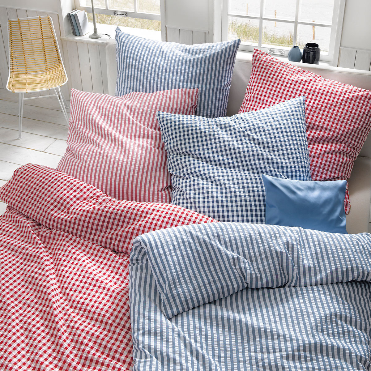 fleuresse seersucker bettw sche rio vichy rot g nstig online kaufen bei bettwaren shop. Black Bedroom Furniture Sets. Home Design Ideas