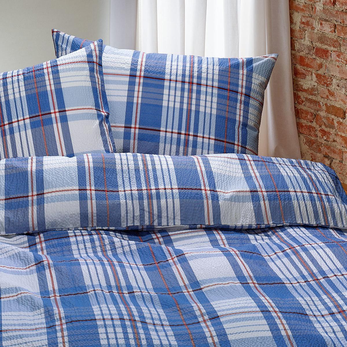 traumschlaf seersucker bettw sche streifen blau g nstig online kaufen bei bettwaren shop. Black Bedroom Furniture Sets. Home Design Ideas
