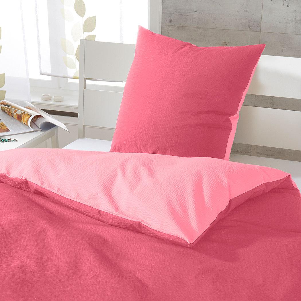janine soft seersucker uni wendebettw sche himbeer. Black Bedroom Furniture Sets. Home Design Ideas