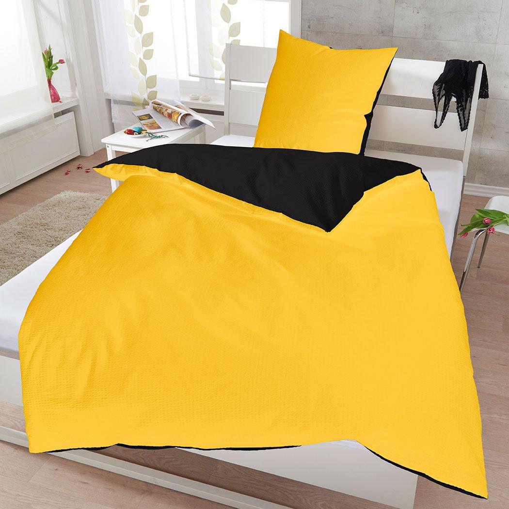janine soft seersucker uni wendebettw sche sonne schwarz. Black Bedroom Furniture Sets. Home Design Ideas