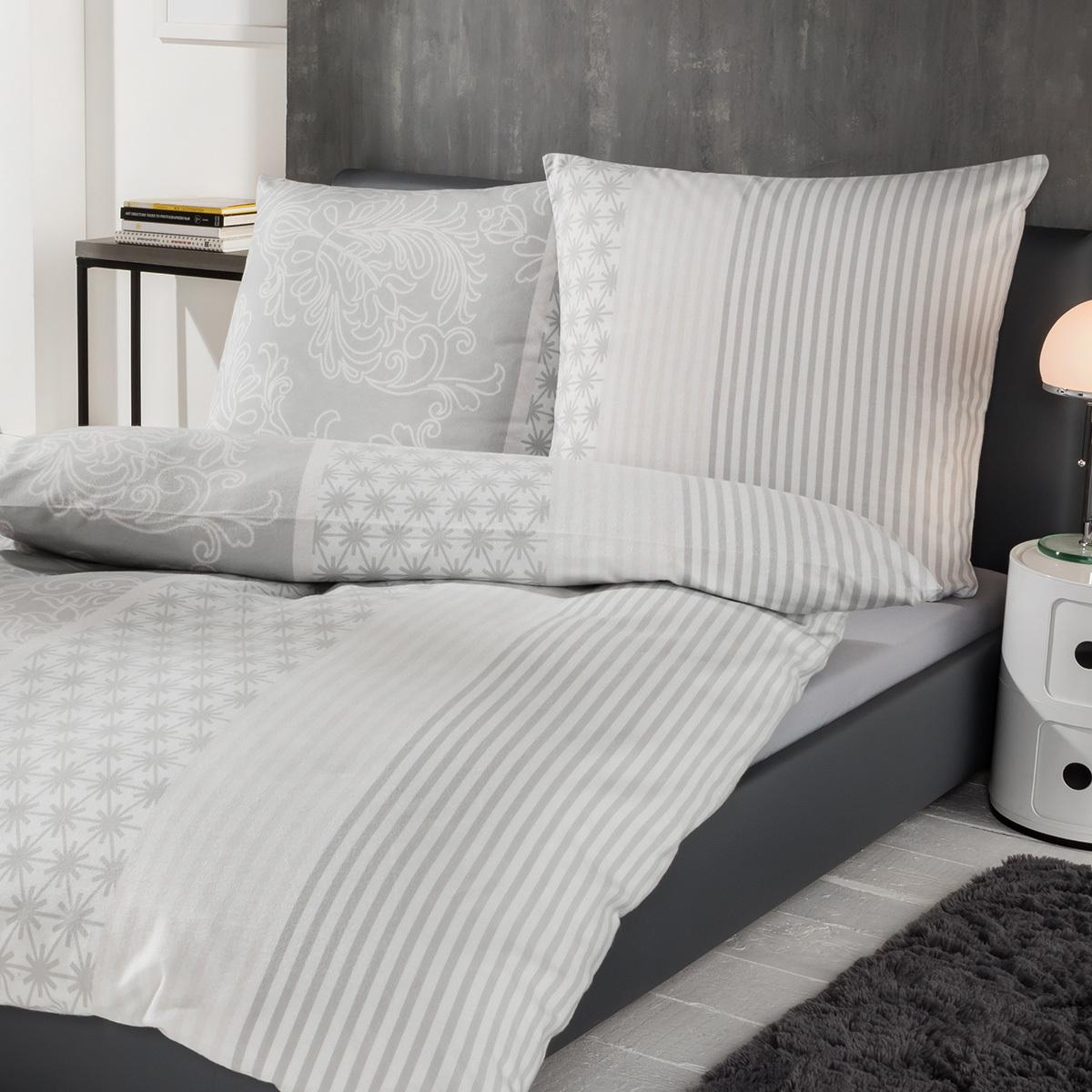 ibena zeitgeist flanell bettw sche schneeflocken grau. Black Bedroom Furniture Sets. Home Design Ideas