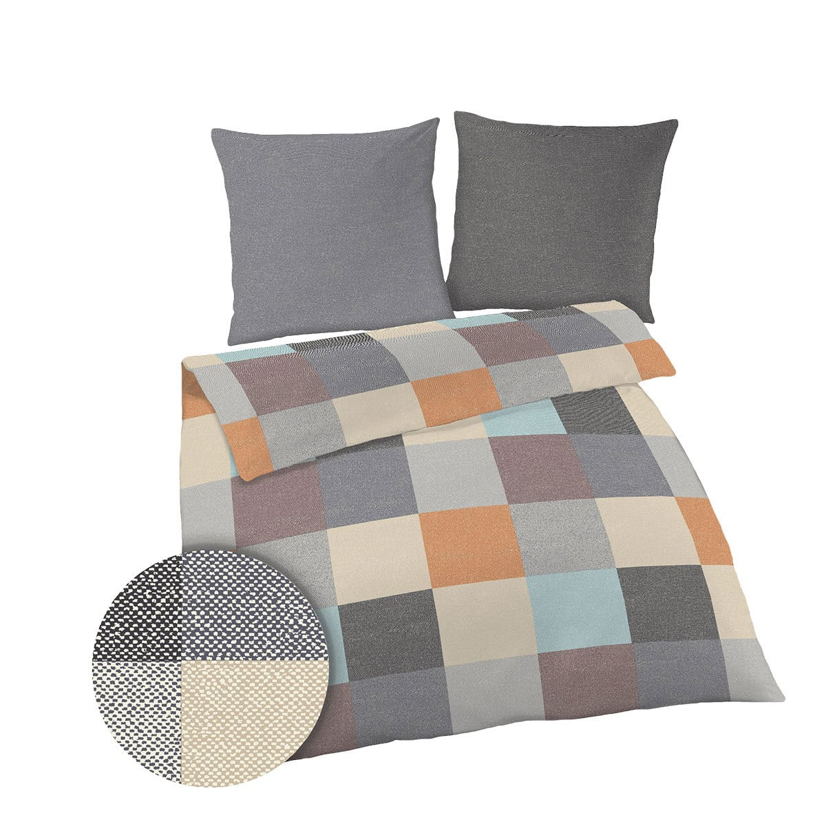 dobnig biber bettw sche karo anthrazit g nstig online kaufen bei bettwaren shop. Black Bedroom Furniture Sets. Home Design Ideas