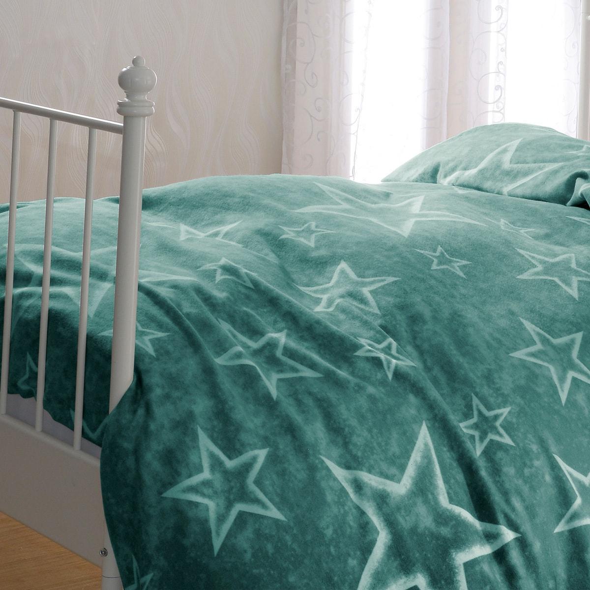 bettwarenshop biber bettw sche sterne gr n g nstig online. Black Bedroom Furniture Sets. Home Design Ideas