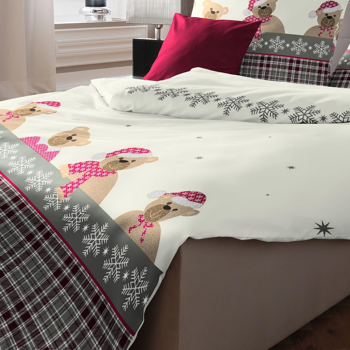 fleuresse biber bettw sche weihnachtsb ren g nstig online kaufen bei bettwaren shop. Black Bedroom Furniture Sets. Home Design Ideas