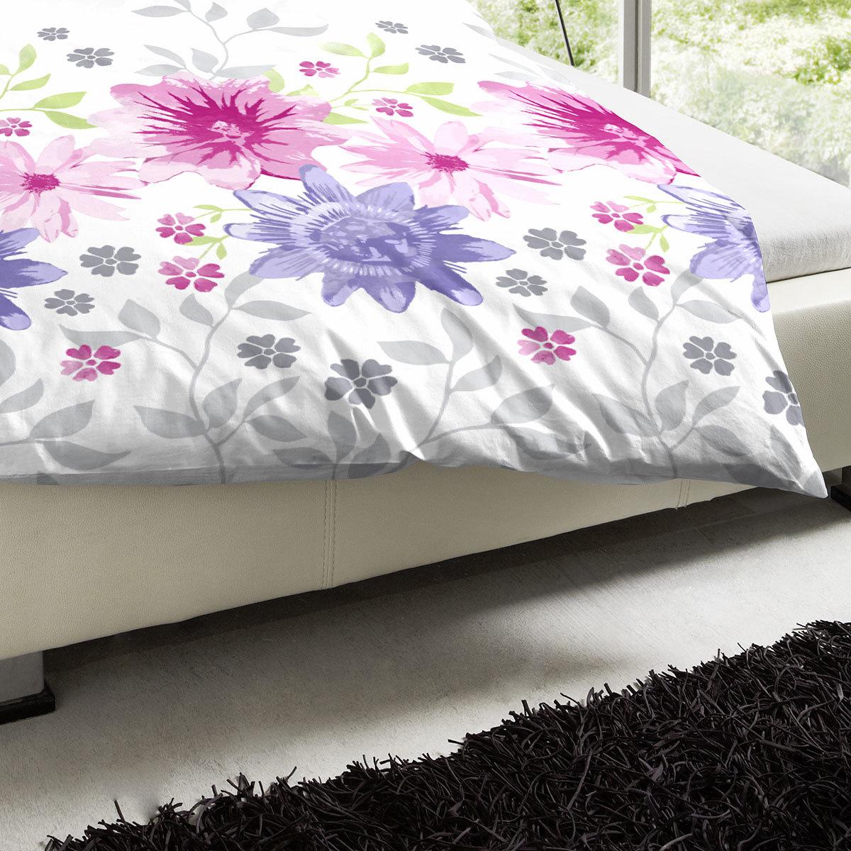 hahn perkal bettw sche blumenwiese pink g nstig online kaufen bei bettwaren shop. Black Bedroom Furniture Sets. Home Design Ideas