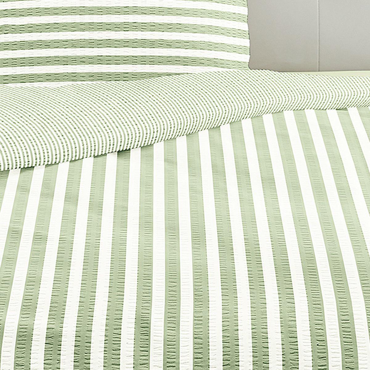 irisette seersucker bettw sche streifen gr n g nstig online kaufen bei bettwaren shop. Black Bedroom Furniture Sets. Home Design Ideas