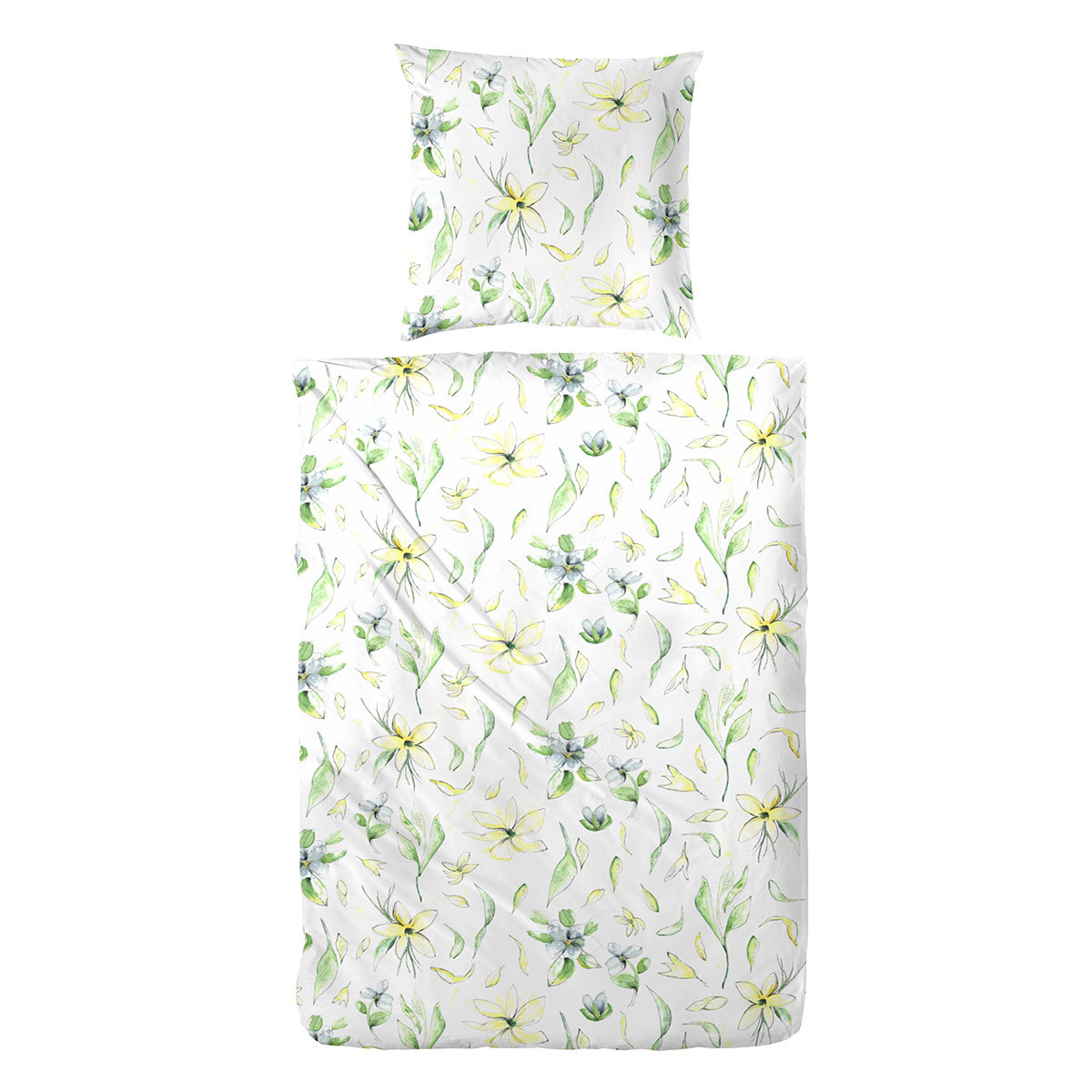 enrico coss baumwoll seersucker bettw sche flowers gr n. Black Bedroom Furniture Sets. Home Design Ideas
