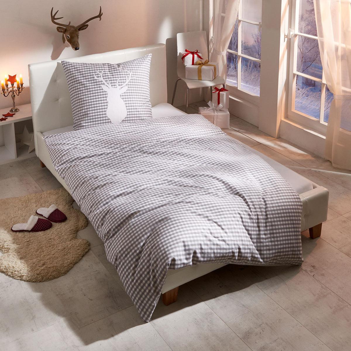 bettwarenshop biber wendebettw sche hirsch g nstig online kaufen bei bettwaren shop. Black Bedroom Furniture Sets. Home Design Ideas