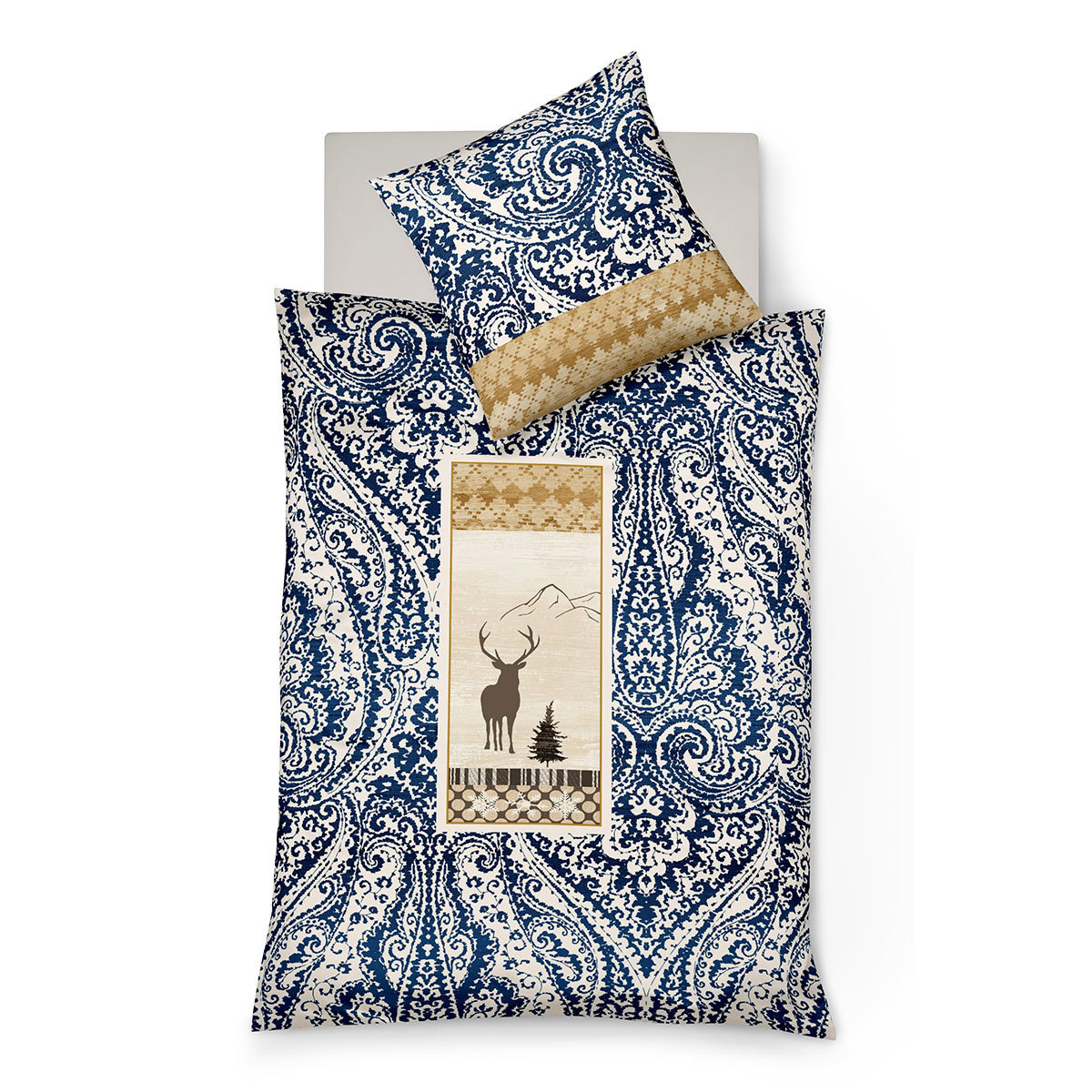 fleuresse feinbiber bettw sche hirsch blau g nstig online kaufen bei bettwaren shop. Black Bedroom Furniture Sets. Home Design Ideas