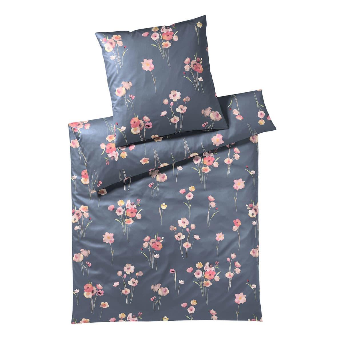 elegante seiden satin bettw sche poppy graphit g nstig online kaufen bei bettwaren shop. Black Bedroom Furniture Sets. Home Design Ideas