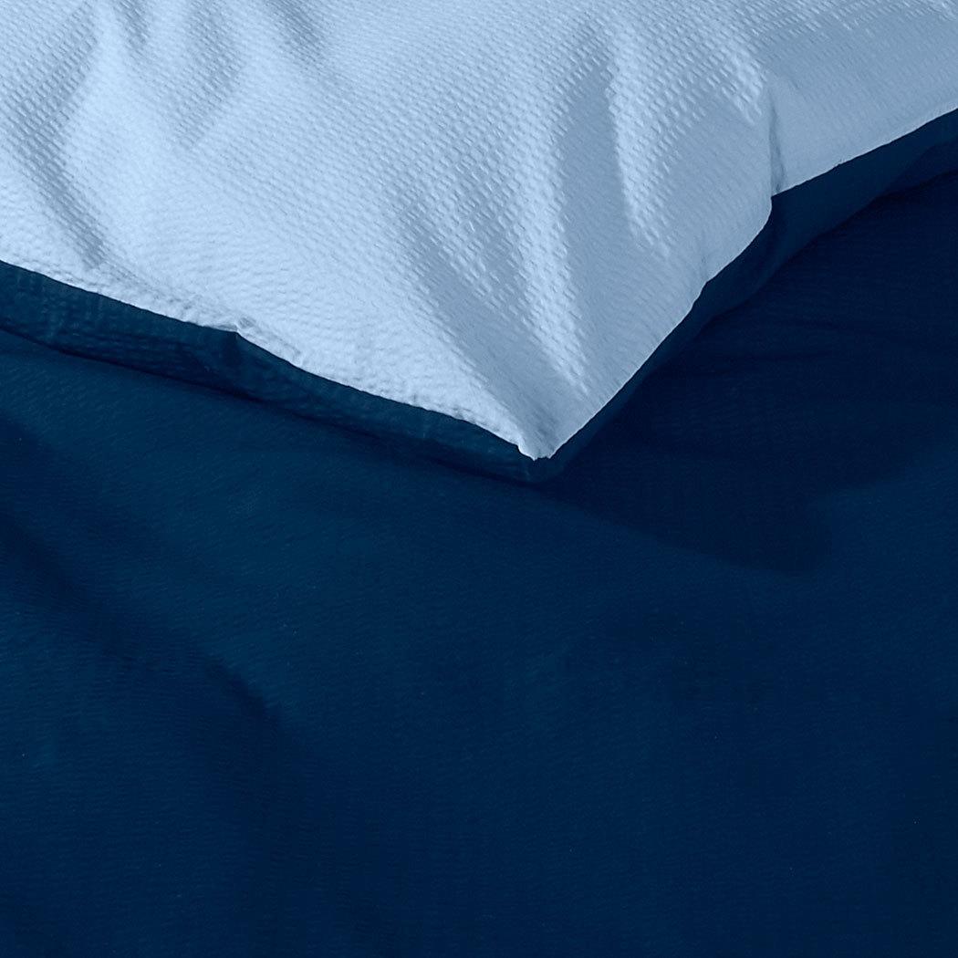 janine soft seersucker uni wendebettw sche marine bleu. Black Bedroom Furniture Sets. Home Design Ideas